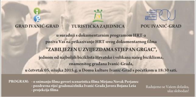 Pozivnica na prikazivanje dokumentarnog filma o Stjepanu Grgcu