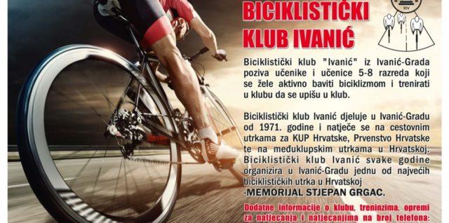 """Poziv na upis u biciklistički klub """"Ivanić"""""""